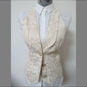 Sz M Ivory Floral GUESS Juniors #04E Suit Vest